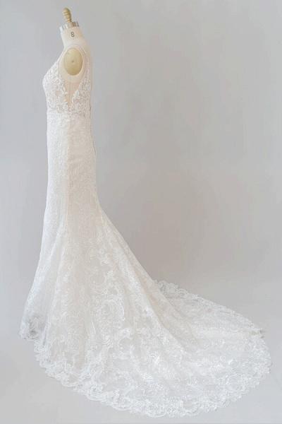 Elegant Appliques V-neck Sheath Wedding Dress_5