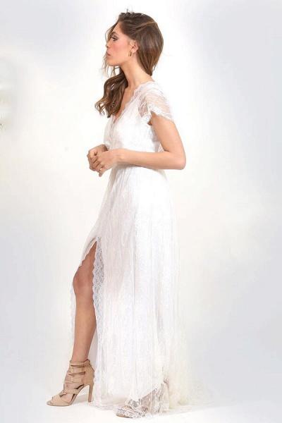 Front Slit V-neck Short Sleeve Lace Wedding Dress_4