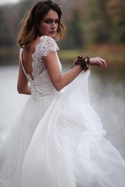 Graceful Cap Sleeve V-neck Lace Tulle Wedding Dress_4