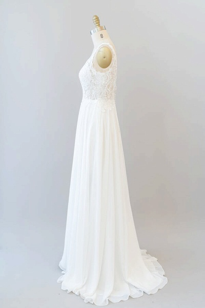 V-neck Appliques Chiffon A-line Wedding Dress_5