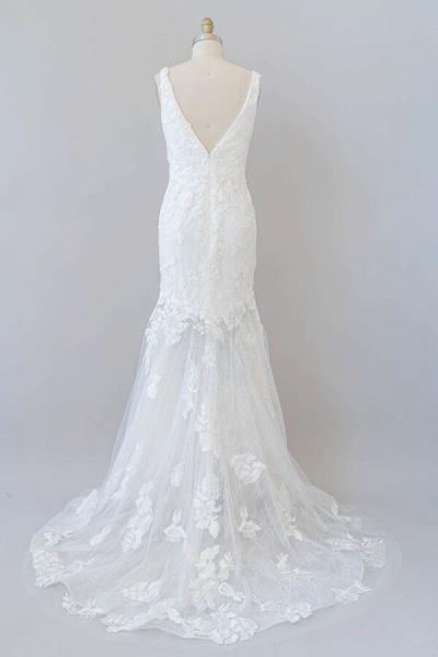 Deep V-neck Appliques Tulle Mermaid Wedding Dress_3
