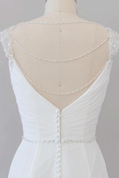 Elegant Ruffle Beading Chiffon Sheath Wedding Dress_8