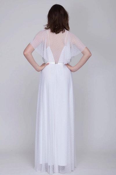 Polka Dot Short Sleeve Lace Tulle Wedding Dress_3