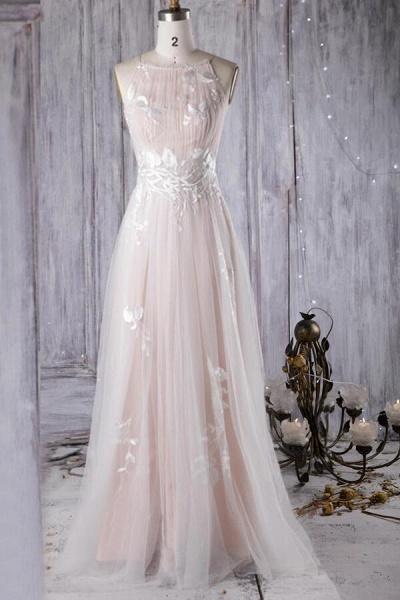 Chic Ruffle Floor Length Tulle A-line Wedding Dress_1