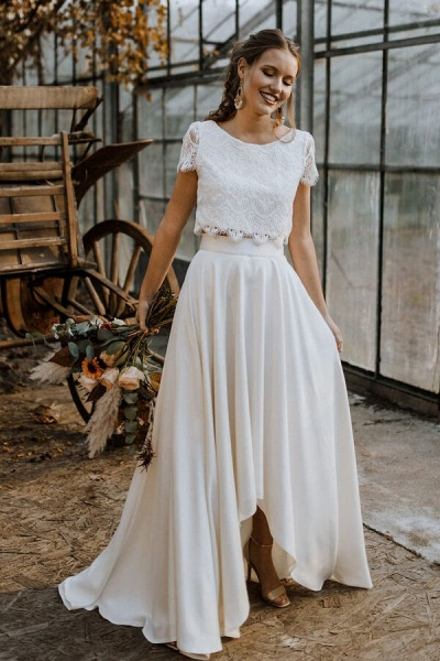 Short Sleeve Lace High Low Two Piece Wedding Dress_1
