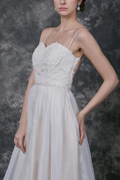 Open Back Spaghetti Strap Organza Wedding Dress_5