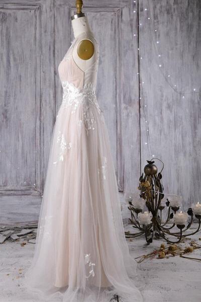 Chic Ruffle Floor Length Tulle A-line Wedding Dress_5