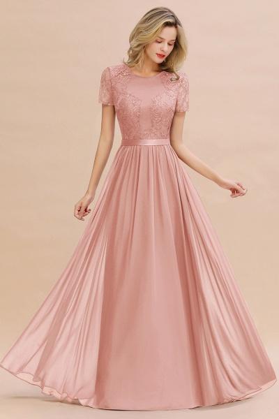 BM0831 Chiffon Lace Scoop Short Sleeve Bridesmaid Dress_50