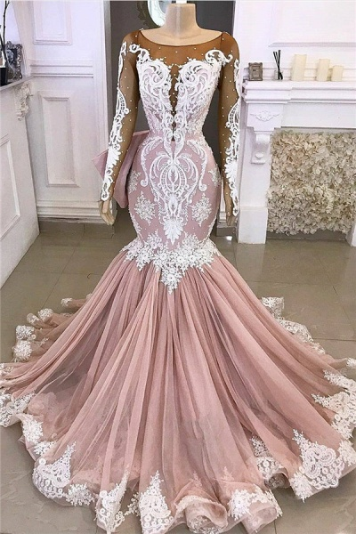 Lace Mermaid Appliques Formal Gowns|Exquisite Evening Dresses_1