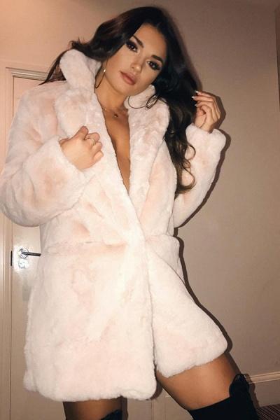 Winter Daily Regular Stand Long Faux Fur Coats_53