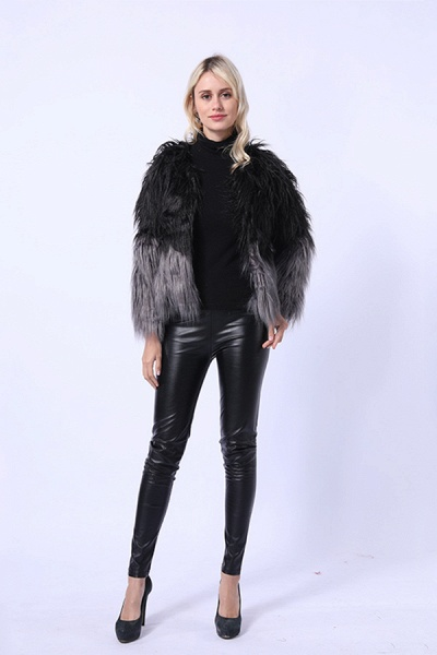 Ombre Party Fashion Winter Regular Faux Fur Coats_8