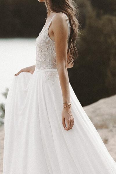 V-neck Lace Beading Chiffon A-line Wedding Dress_5