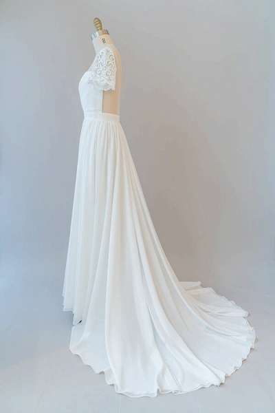 Ruffle Short Sleeve Chiffon A-line Wedding Dress_5