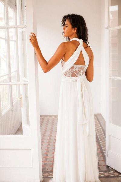 Criss Cross Lace Chiffon Sheath Wedding Dress_3
