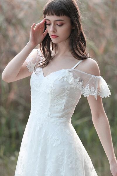 Cold-shoulder Lace Tulle A-line Wedding Dress_12
