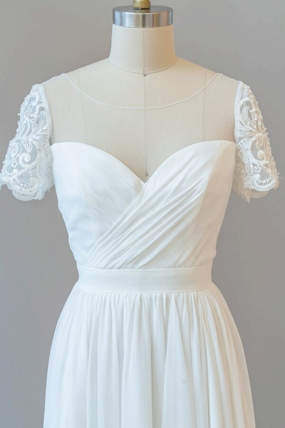 Ruffle Short Sleeve Chiffon A-line Wedding Dress_6