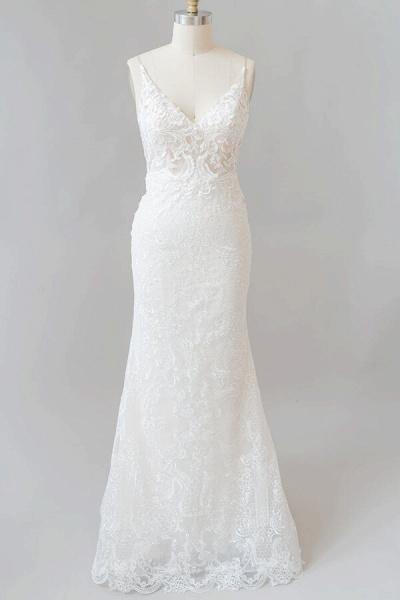 Elegant Appliques V-neck Sheath Wedding Dress_1