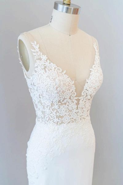 Elegant Lace Floor Length Mermaid Wedding Dress_7