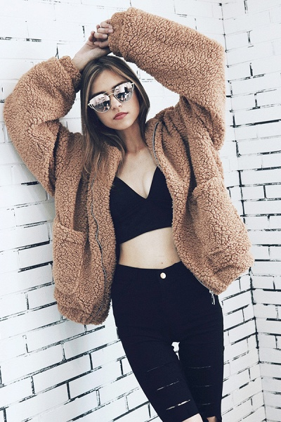 Winter Fashion Going out Basic Regular Faux Fur Coat_23