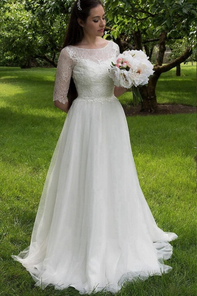 Modest Lace Tulle Court Train A-line Wedding Dress_1