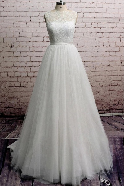 Illusion Lace Tulle Chapel Train Wedding Dress_1