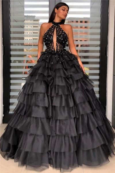 Halter Sleeveless Floorlength Ball Gown Dress_1