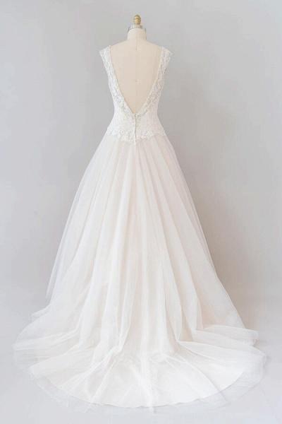 Elegant Open Back Lace Tulle A-line Wedding Dress_3