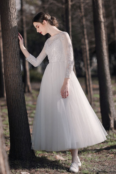 Long Sleeve Sequins Tulle A-line Wedding Dress_5
