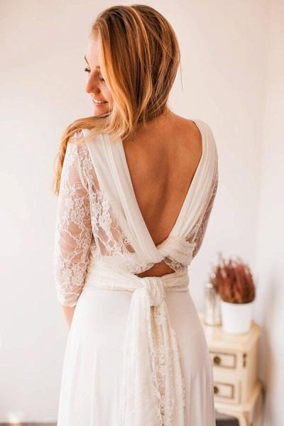 Amazing Lace Chiffon Floor Length Wedding Dress_3
