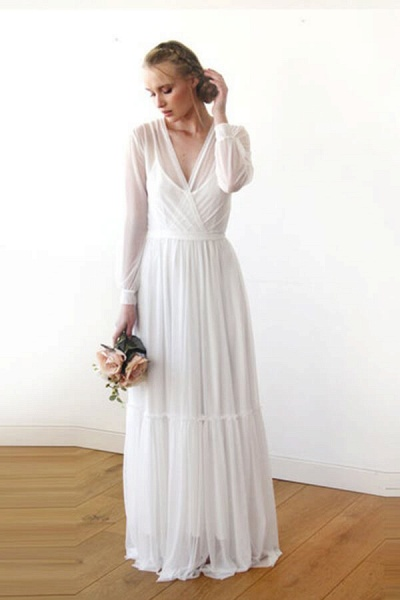 Graceful Long Sleeve V-neck Chiffon Wedding Dress_1