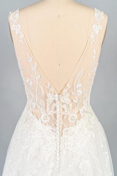 V-neck Appliques Tulle A-line Wedding Dress_8