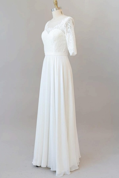 Graceful Lace Chiffon Floor Length Wedding Dress_4