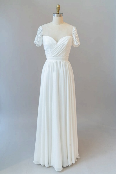 Ruffle Short Sleeve Chiffon A-line Wedding Dress_2