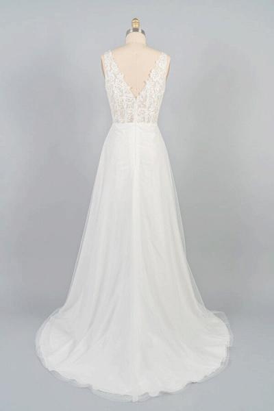V-neck Appliques Tulle A-line Wedding Dress_3