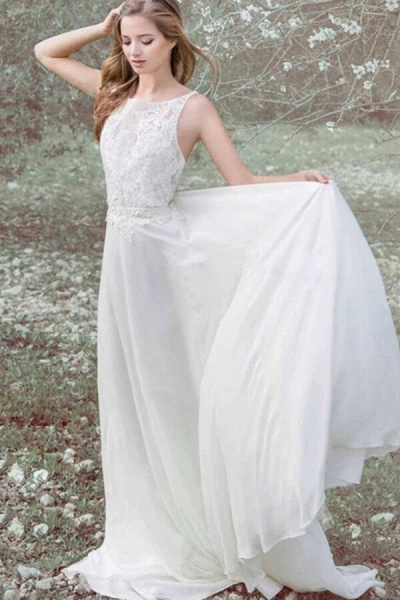 Elegant Appliques Chiffon A-line Wedding Dress_1