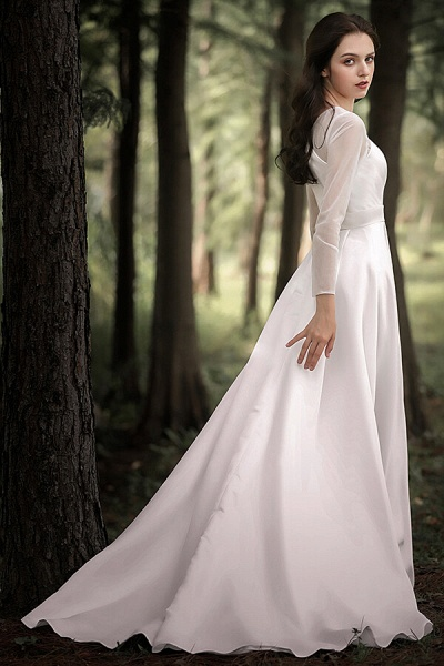 Elegant Long Sleeve Satin A-line Wedding Dress_5