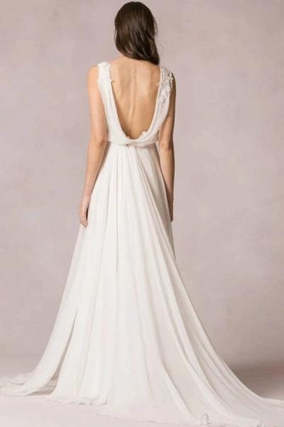 Open Back Ruffle Lace Chiffon A-line Wedding Dress_3