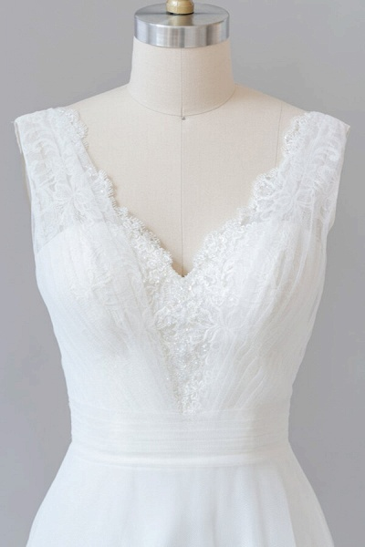 Ruffle V-neck Lace Tulle A-line Wedding Dress_7