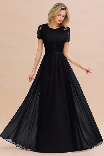 BM0831 Chiffon Lace Scoop Short Sleeve Bridesmaid Dress_29