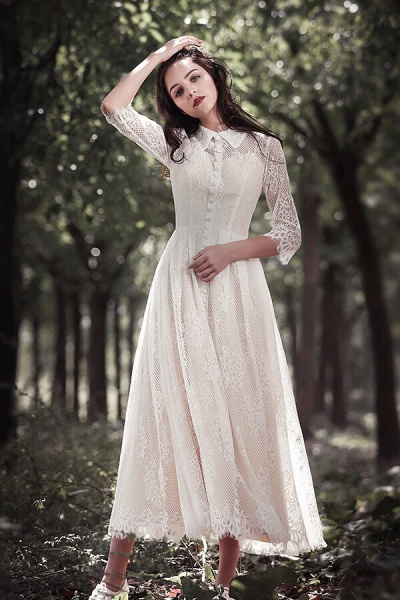 Cute Front Button-up Lace A-line Wedding Dress_2