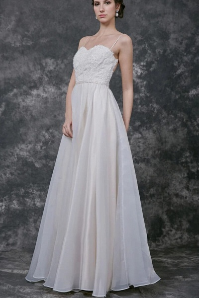 Open Back Spaghetti Strap Organza Wedding Dress_4