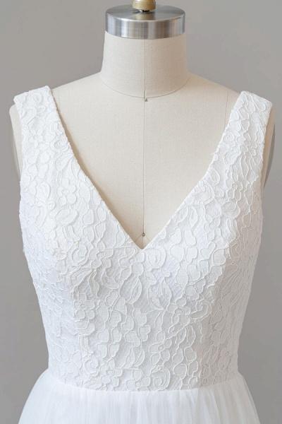 Open Back V-neck Lace Tulle A-line Wedding Dress_6