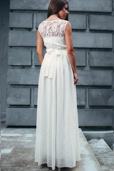 Elegant Lace Chiffon Floor Length Wedding Dress_3