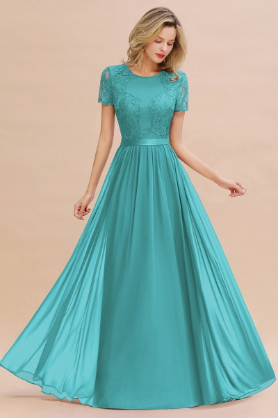 BM0831 Chiffon Lace Scoop Short Sleeve Bridesmaid Dress_32