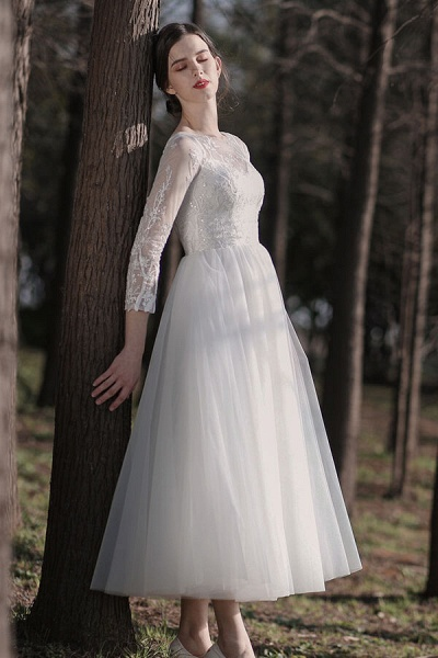 Long Sleeve Sequins Tulle A-line Wedding Dress_1
