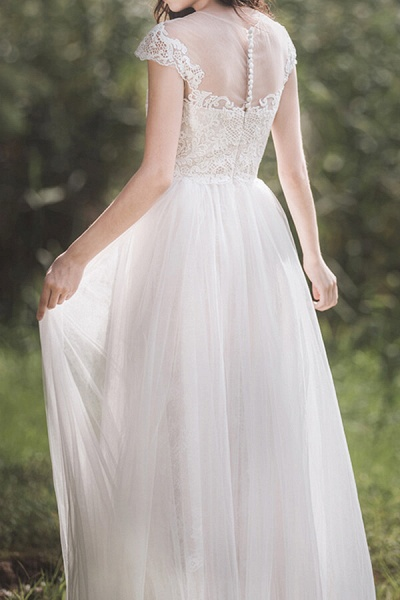 Awesome Cap Sleeve Lace Tulle A-line Wedding Dress_3