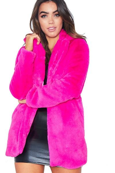 Winter Daily Regular Stand Long Faux Fur Coats_5
