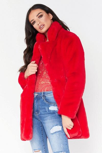 Winter Daily Regular Stand Long Faux Fur Coats_22