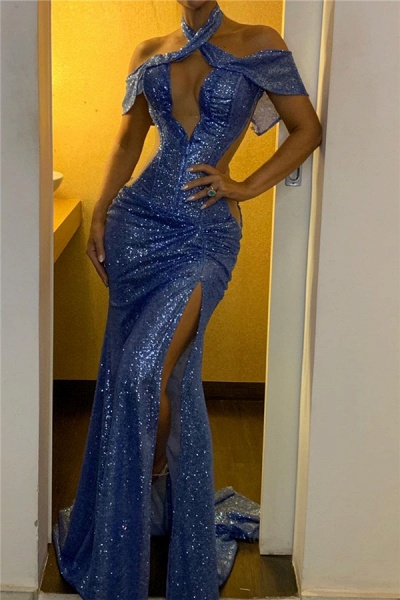 Sequined Mermaid Splitfront Crisscross Evening Dresses|Splitfront Sexy Formal Gowns_1