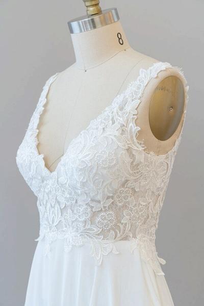 V-neck Appliques Chiffon A-line Wedding Dress_7